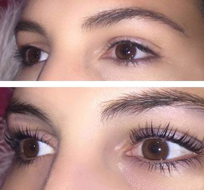Before and After Eyelash Lifting Results